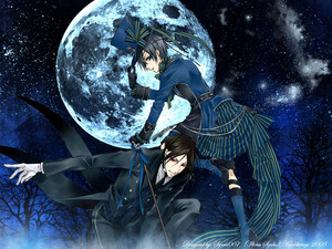 Ciel and Sebastian under the moon