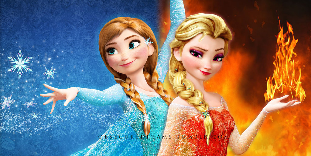 Disney princess images anna of ice and elsa of fire hd wallpaper and background photos 36802643 - Princesse anna et elsa ...