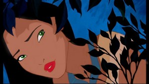 Pocahontas with green eyes, red lips, lighter skin and black eyebrows.
