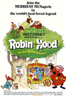 "Movie Poster For The 1973 Disney Cartoon, ""Robin Hood"""