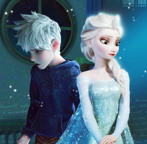 Elsa & Jack Frost wallpaper possibly containing a bridesmaid, a cocktail dress, and a dinner dress titled Jack and Elsa