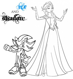 Elsa and Shadow Colouring Page