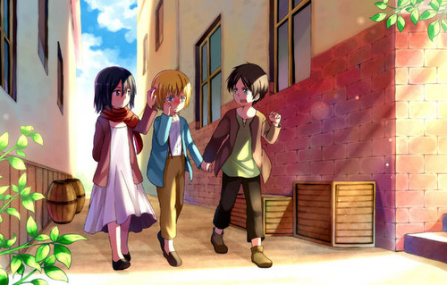 《进击的巨人》 壁纸 called Eren, Mikasa, and Armin