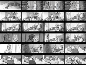 "La Reine des Neiges - ""Anna hires Kristoff"" sequence Storyboard"