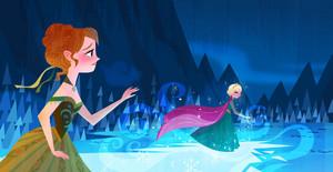 《冰雪奇缘》 - Anna's Act of Love/Elsa's Icy Magic Book Illustrations