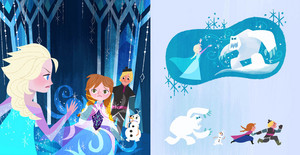 Frozen - Anna's Act of Love/Elsa's Icy Magic Book Illustrations