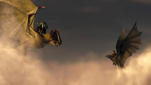 Valka and Cloudjumper with Hiccup and Toothless