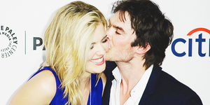 Ian Somerhalder gives his former cast mate Maggie Grace a huge hug at lost 10th Anniversary Reunion