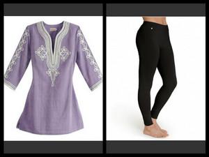 Lavender चोटी, शीर्ष and Black Leggings