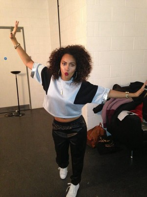 Leigh - Anne yesterday ready for their big Sport Relief performance!