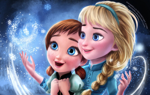 Frozen kertas dinding entitled Little Anna and Elsa
