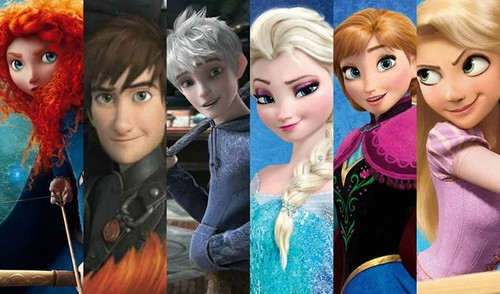 Rise of the 겨울왕국 메리다와 마법의 숲 라푼젤 용 바탕화면 titled Merida, Hiccup, Jack, Elsa, Anna and Rapunzel