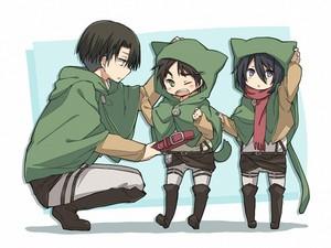 Levi, Eren and Mikasa ~