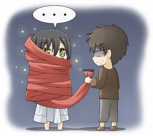Chibi Mikasa and Eren ~