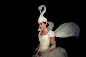 White schwan dress.