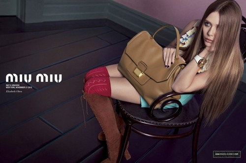 Elizabeth Olsen দেওয়ালপত্র probably containing bare legs, hosiery, and a hip boot titled Miu Miu Spring/Summer 2014 Campaign