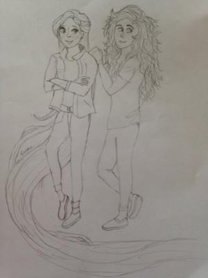 Modern Rapunzel and Merida
