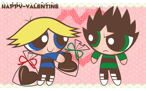 Powerpuff Girls wallpaper containing anime titled happy valentines day