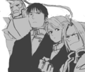 Riza Hawkeye, Edward and Alphonse Elric and Roy Mustang