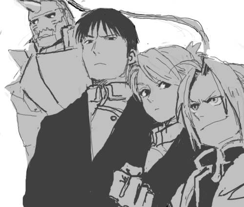 Riza Hawkeye Anime/Manga वॉलपेपर possibly containing ऐनीमे called Riza Hawkeye, Edward and Alphonse Elric and Roy घोड़ा