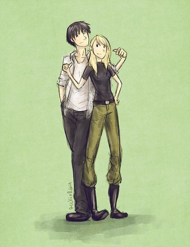 Riza Hawkeye Anime/Manga wallpaper probably with a hip boot and a sign titled Riza Hawkeye and Roy mustang