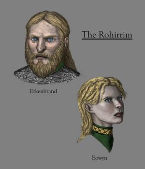 Rohirrim characters (Erkenbrand, Eowyn) by Mark Wesley Foster