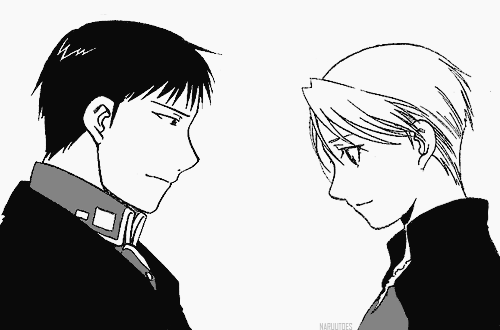 Riza Hawkeye Anime/Manga वॉलपेपर possibly containing a business suit and ऐनीमे entitled Roy and Riza