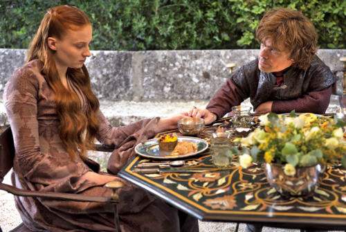 Sansa Stark Hintergrund containing a holiday abendessen entitled Sansa Stark and Tyrion Lannister