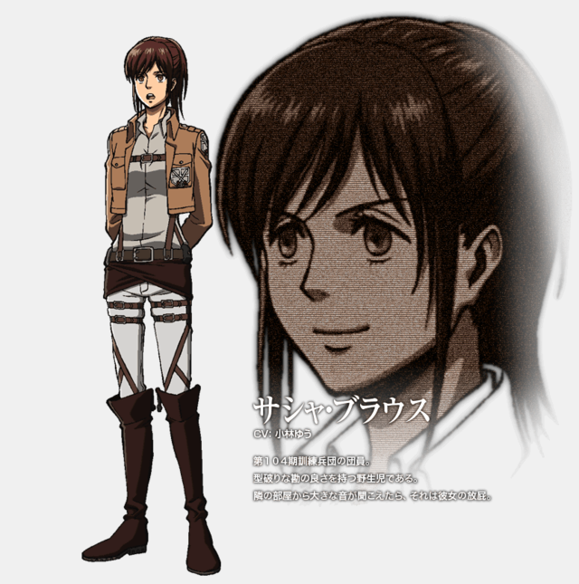 Attack on titan girls images sasha braus character design for Design attack