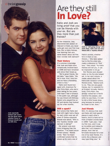 Joshua Jackson & Katie Holmes fondo de pantalla titled Scan of Twist magazine article, November 2001