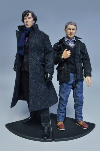 Sherlock wallpaper with a business suit titled Sherlock and John Figurines