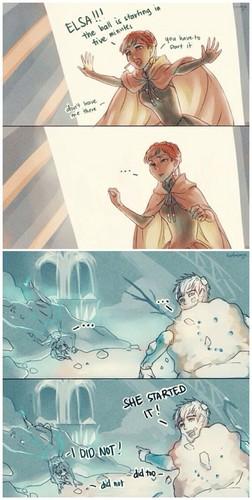 Elsa & Jack Frost karatasi la kupamba ukuta possibly with a sign entitled Snow ball fight?