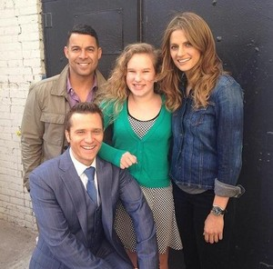 Stana,Seamus,Jon and a fan(March,2014)