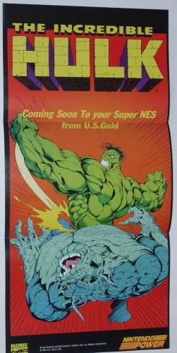 The Incredible Hulk poster from Nintendo Power issue 63. coming to SNES from U.S. gold.