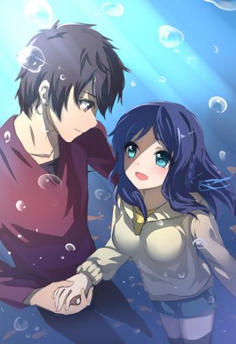 Nagi no Asukara karatasi la kupamba ukuta containing anime called Tsumugu x Chisaki