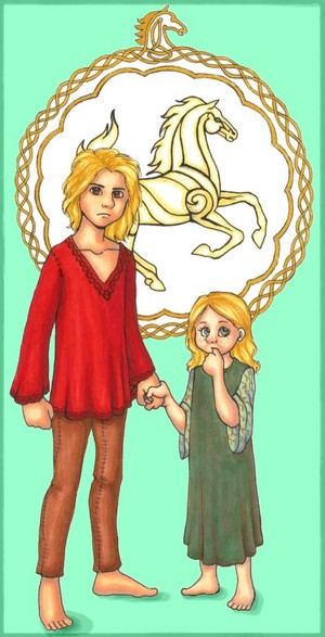 Young Eomer and Eowyn bởi kathrynlillie