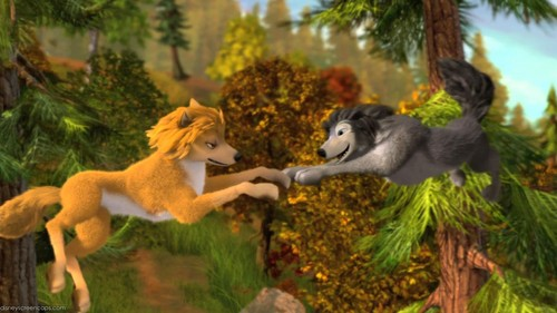 "Humphry from the movie ""Alpha and Omega"" karatasi la kupamba ukuta entitled kate and hunphrey pups"