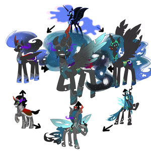 nightmare moon, reyna chrysalis, king sombra fusion