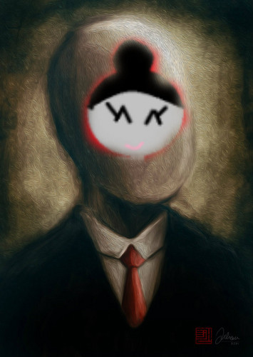 The Slender Man wallpaper titled slender with my sister's face on it O_O
