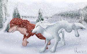 Alpha and Omega 2: a howl-iday adventure Hintergrund with a brunnen titled winter run