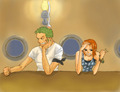 zoro nami art - nami-and-zoro fan art