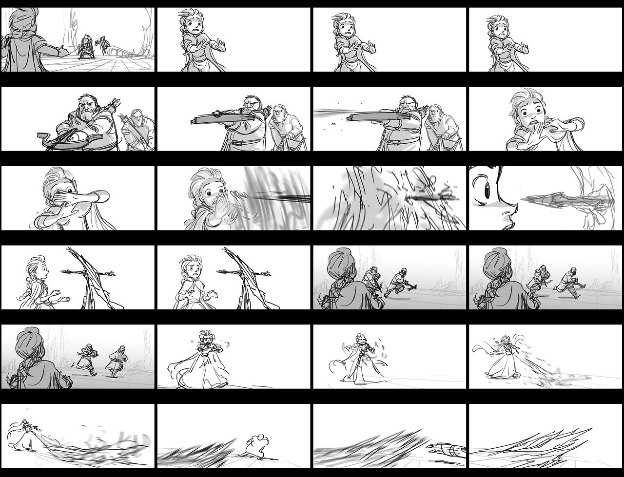 """Hans Captures Elsa"" Storyboard"