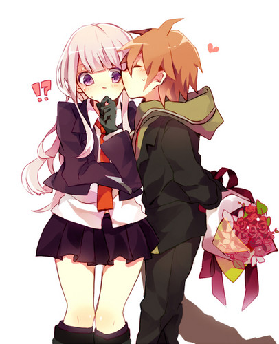 Dangan Ronpa پیپر وال probably with a bouquet entitled Naegiri