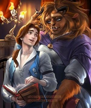 Adam as Belle and Belle as Beast