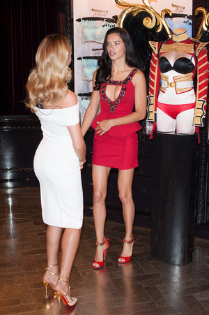 Adriana Lima and Candice Swanepoel at the Bond kalye store in London - HQ's