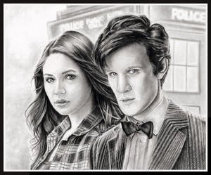 Amy and the Doctor drawing por Jenny Jenkins