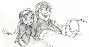 Anna and Kristoff sketches