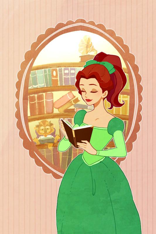 belle in green dress beauty and the beast fan art