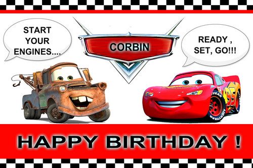 Disney Pixar Cars karatasi la kupamba ukuta possibly with anime titled CORBIN'S 2ND BDAY