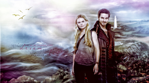 Once Upon A Time wallpaper probably containing a well dressed person called Captain Hook and Emma Swan